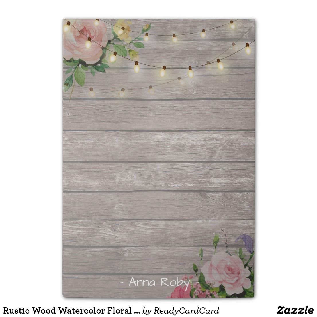 Rustic Wood Watercolor Floral Elegant String Light Post It Notes Vintage And