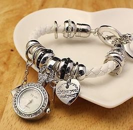 BRAND NEW WITH VELVET POUCH LEATHER BRACLET HEART MULTI PENDANT WATCH - WHITE