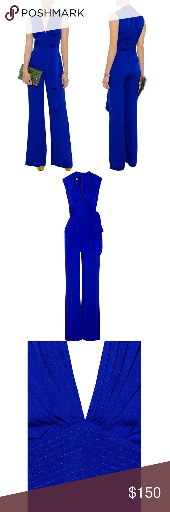 f7b16295e42 Catherine Malandrino Blue Belted Silk Jumpsuit This wide-leg silk jumpsuit  features a deep V
