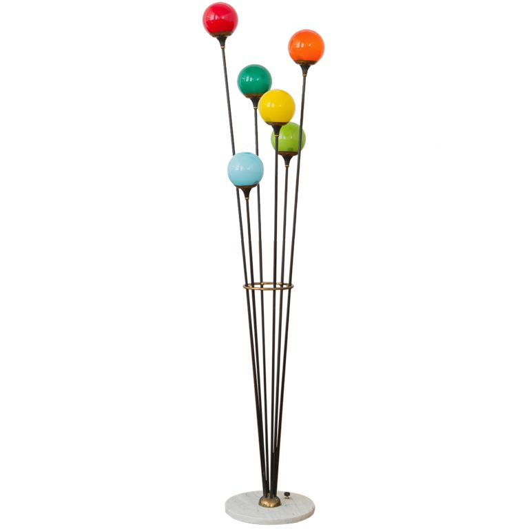 1950s 5 Armed Colored Glass Stilnovo Floor Lamp Five Arms