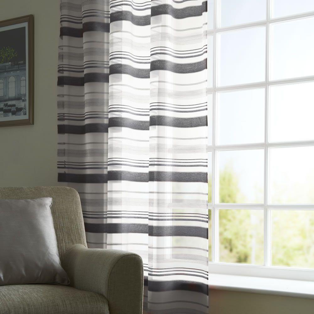 Wilko shower curtain grey at wilko com - Wilko Slot Top Voile Panel Charcoal 145cm X 228cm At Wilko Com