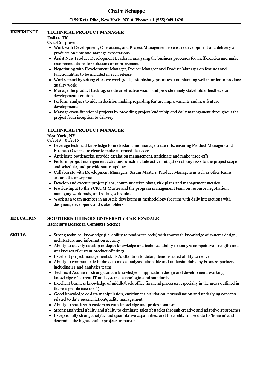 Technical Product Manager Resume Samples Project Manager Resume Manager Resume Sales Resume Examples