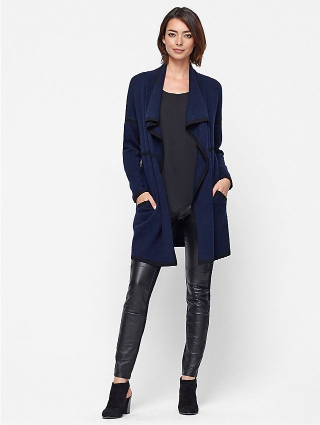 Leather-Blocked Leggings in Viscose Stretch Ponte with Leather