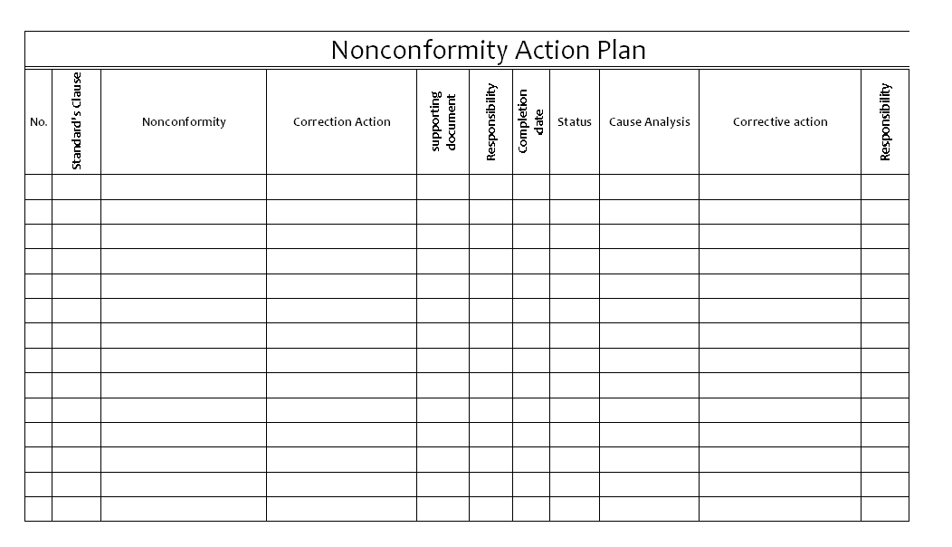 Non Conformity Action Plan  Education    Conformity