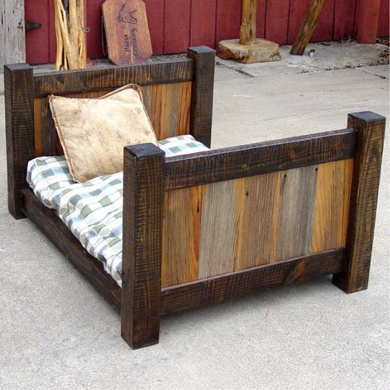 Rustic Toddler Beds Rustic Barnwood Dog Toddler Bed By