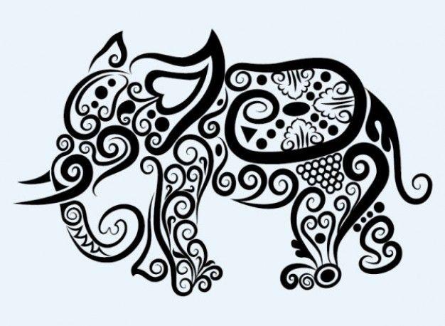 Line Art Designs Free Download : Elephant animal patterns in swirl line art download free