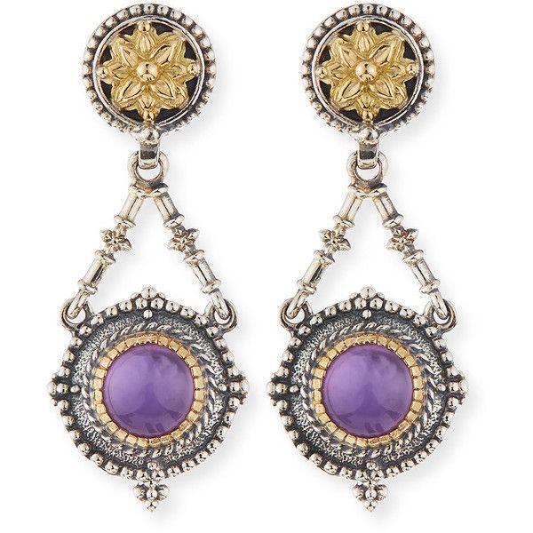 Konstantino Silver & 18k Amethyst Dangle Earrings (21.805 ARS) ❤ liked on Polyvore featuring jewelry, earrings, amethyst, amethyst earrings, handcrafted earrings, amethyst jewelry, long silver earrings and 18k earrings