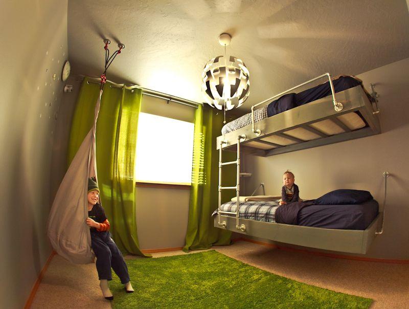 Creative Modern Boy Bedroom Ikea Hacks Floating Bed Floating Bunkbed Blue And Green Boy Bedroom Boys Bedroom Green Boys Bedroom Modern Modern Bedroom