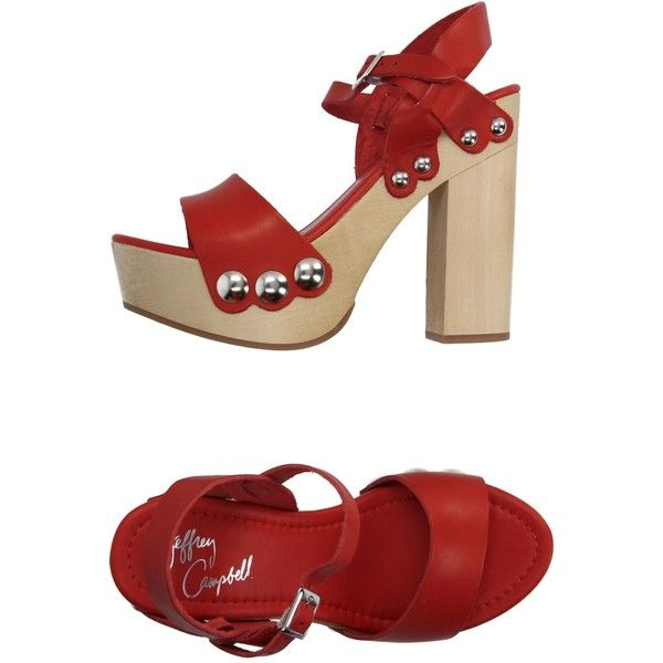 Jeffrey Campbell Sandals (2.050 ARS) ❤ liked on Polyvore featuring shoes, sandals, red, square heel shoes, rubber sole shoes, red sandals, wooden heel shoes and red leather sandals