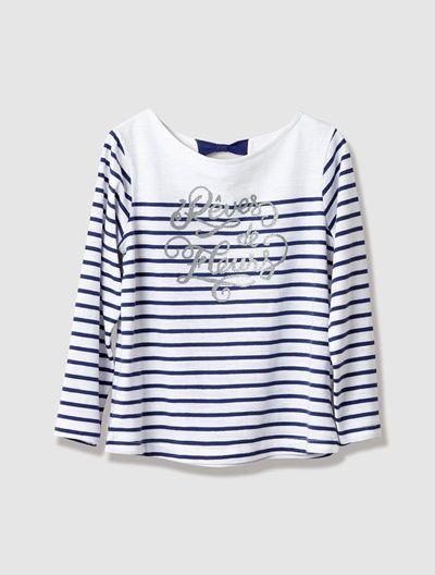 ebdc09b142  Camisola estilo  marinheiro  estampado  riscas  azul  primavera  menina