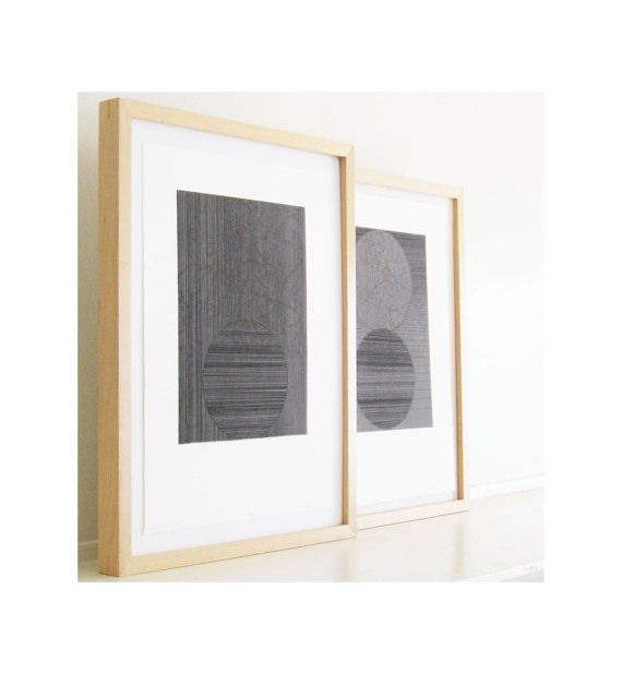 Etching Print Set . Geometric Art in Gray Rubber by ElviaPerrin,