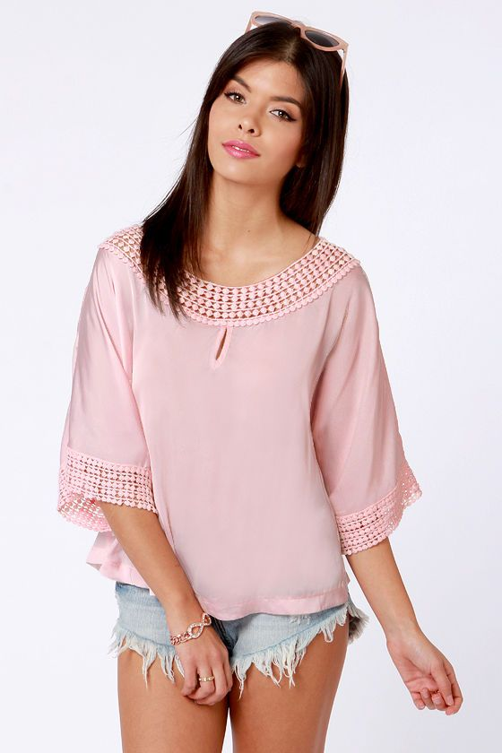 c01ce195981f9 Pretty Pink Top - Satin Top - Lace Top - Short Sleeve Top -  47.00