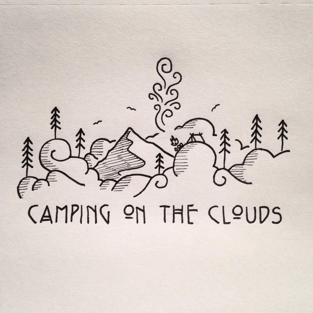 Little doodle of some d00ds camping on the clouds for Cute little doodles to draw