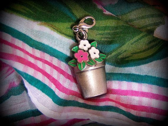 Silver tone charm / silver tone zipper pull Potted by STUFFEZES