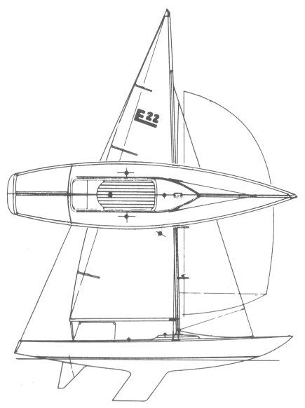 etchells 22 drawing on sailboatdata com