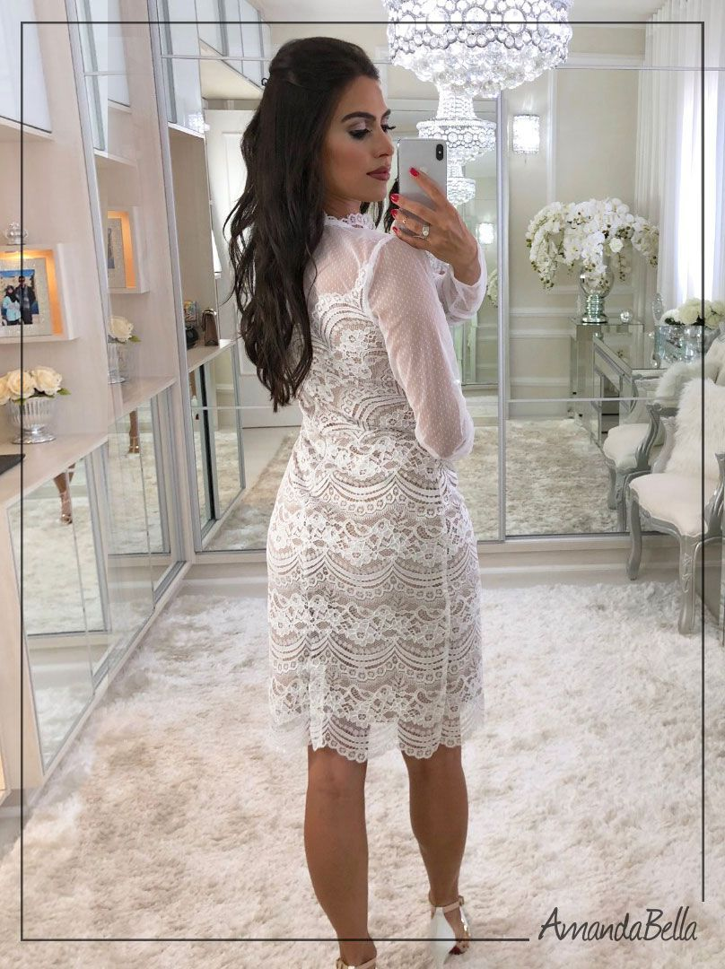 2bd1fc989 Vestido de Renda de Poliamida e Tule Feminino   chic em 2019