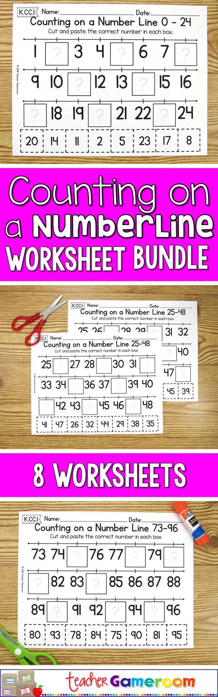 Counting on a Number Line Worksheet Bundle | Kindergarten centers ...