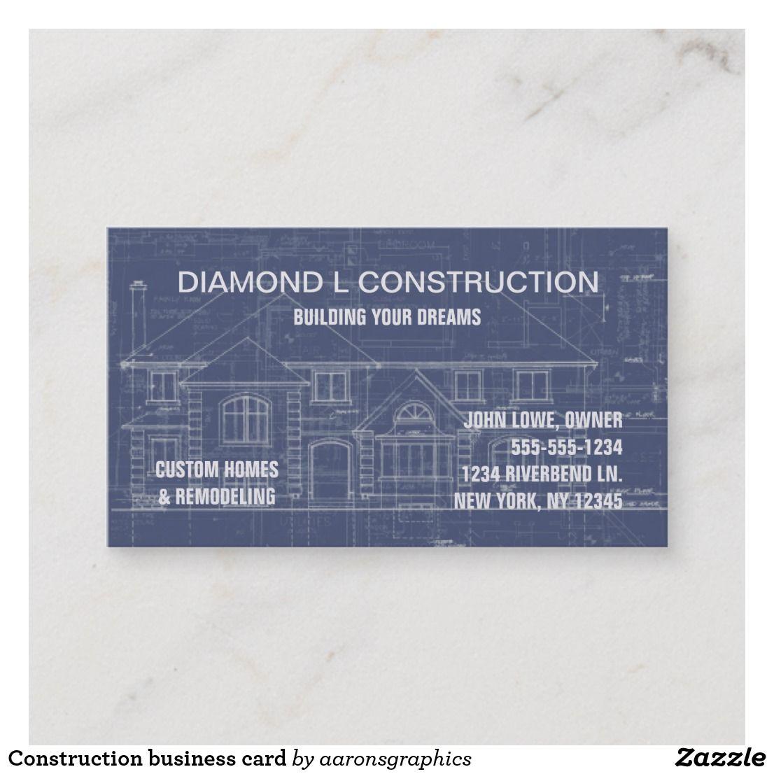Construction Business Card Zazzle Com Construction Business Remodeling Business Construction Business Cards