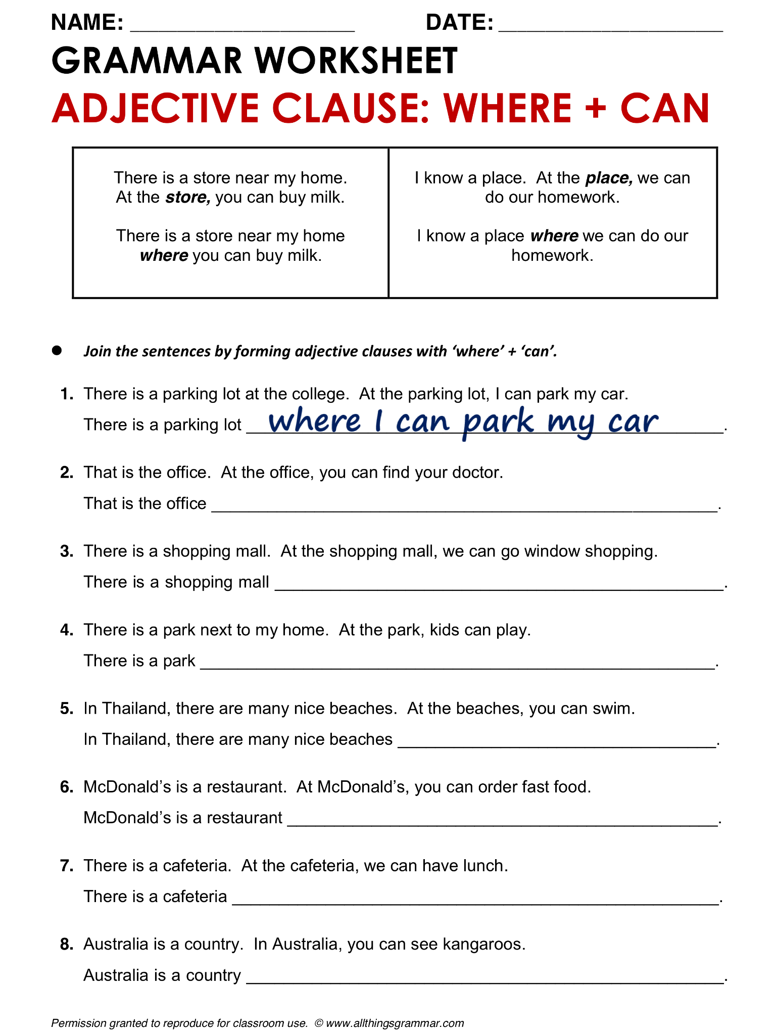 Worksheets Adjective Clause Worksheet english grammar adjective clause where www allthingsgrammar com comadjective clauses