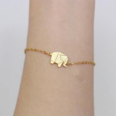 158b9908418c64 2017 Gold Color Charms Bracelet Femme Stainless Steel Women Dainty Jewelry  Lucky Origami Elephant Bracelets Friendship Gifts BFF
