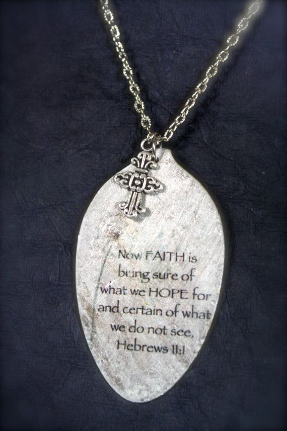 Hebrews Faith Pendant made from a Vintage Spoon by kyleemaedesigns, $36.00