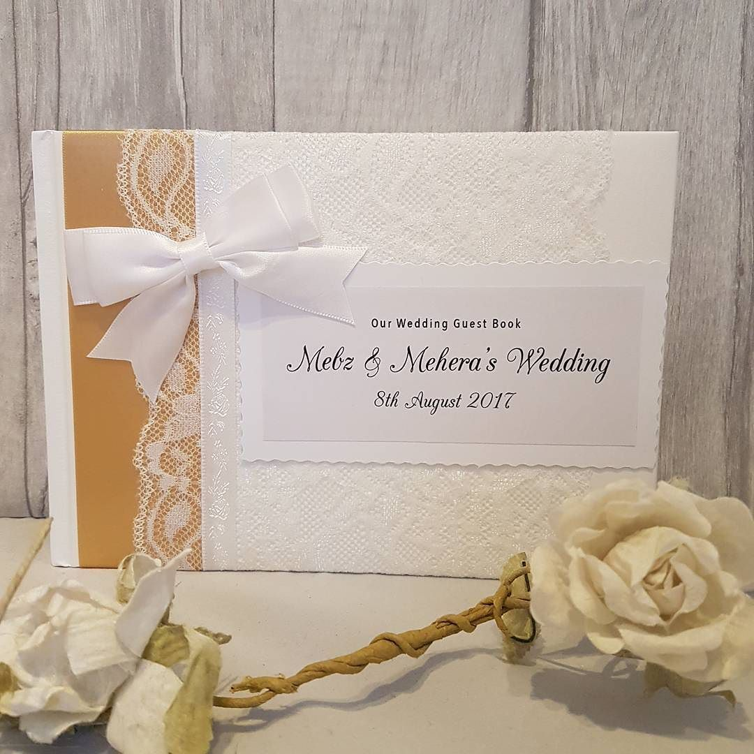 Honey gold personalised wedding guestbook made today