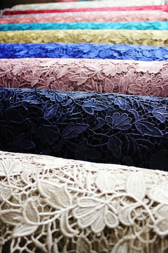 "1 Yard Vintage Guipure Embroidery Lace Fabric Soft Mesh Materials 53/"" Width"