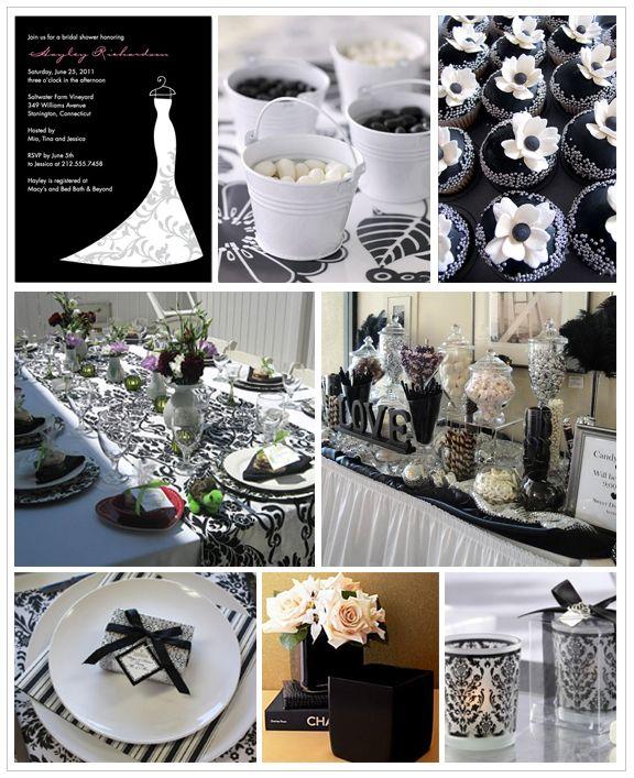 Inspiration Board Black And White Bridal Shower White Wedding