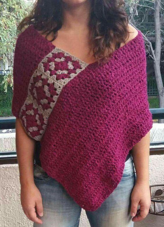 Capa crochet | ponchos | Pinterest | Patrones, Ponchos y Tejido
