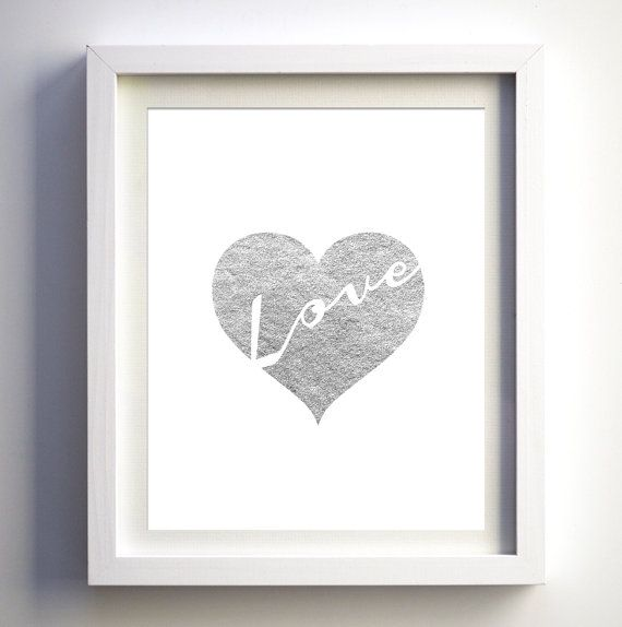 Silver Foil Heart Love Art Print Silver By Fancyprintsforhome Heart Wall Art Geometric Art Prints Foil Wall Decor