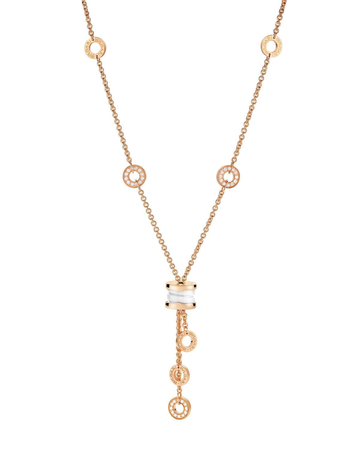 d59f06452 Bvlgari 18K Pink Gold B.zero1 White Ceramic and Diamond Necklace. Pink Gold  Chain with Alternating Gold Circles and a White Ceramic and Chain Drop.