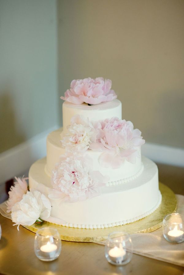 Beautifully simple buttercream cake with pink peonies