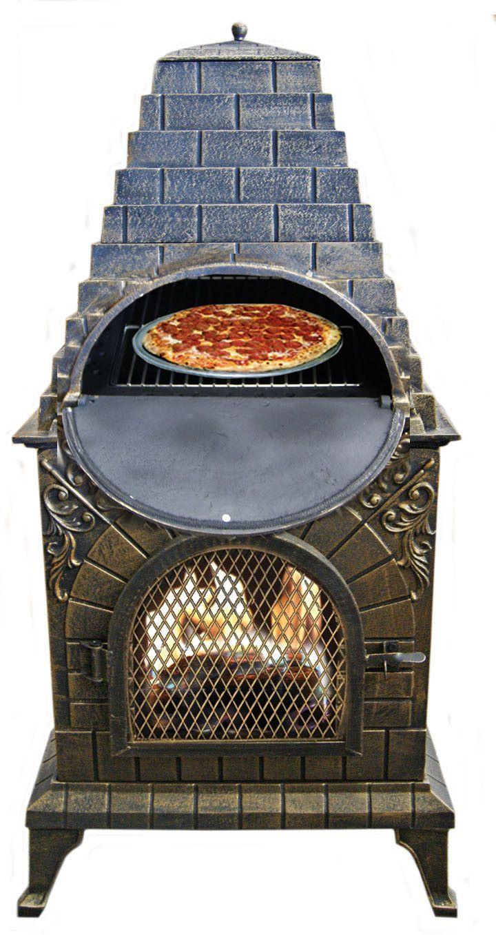 Deeco Aztec Allure Cast Iron Chiminea Outdoor Pizza Oven