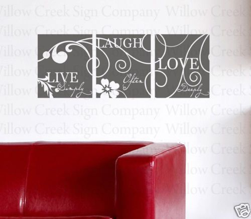 Live Laugh Love Vinyl Wall Lettering art Words Decal