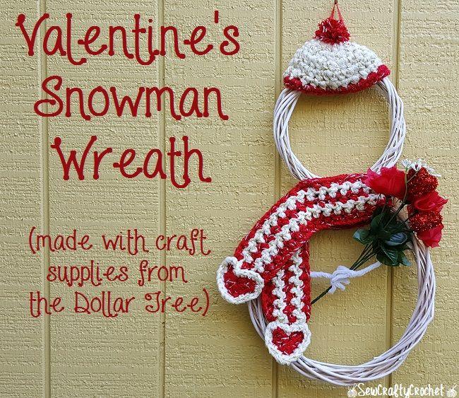 Dollar Tree Valentine's Day Snowman Wreath Tutorial