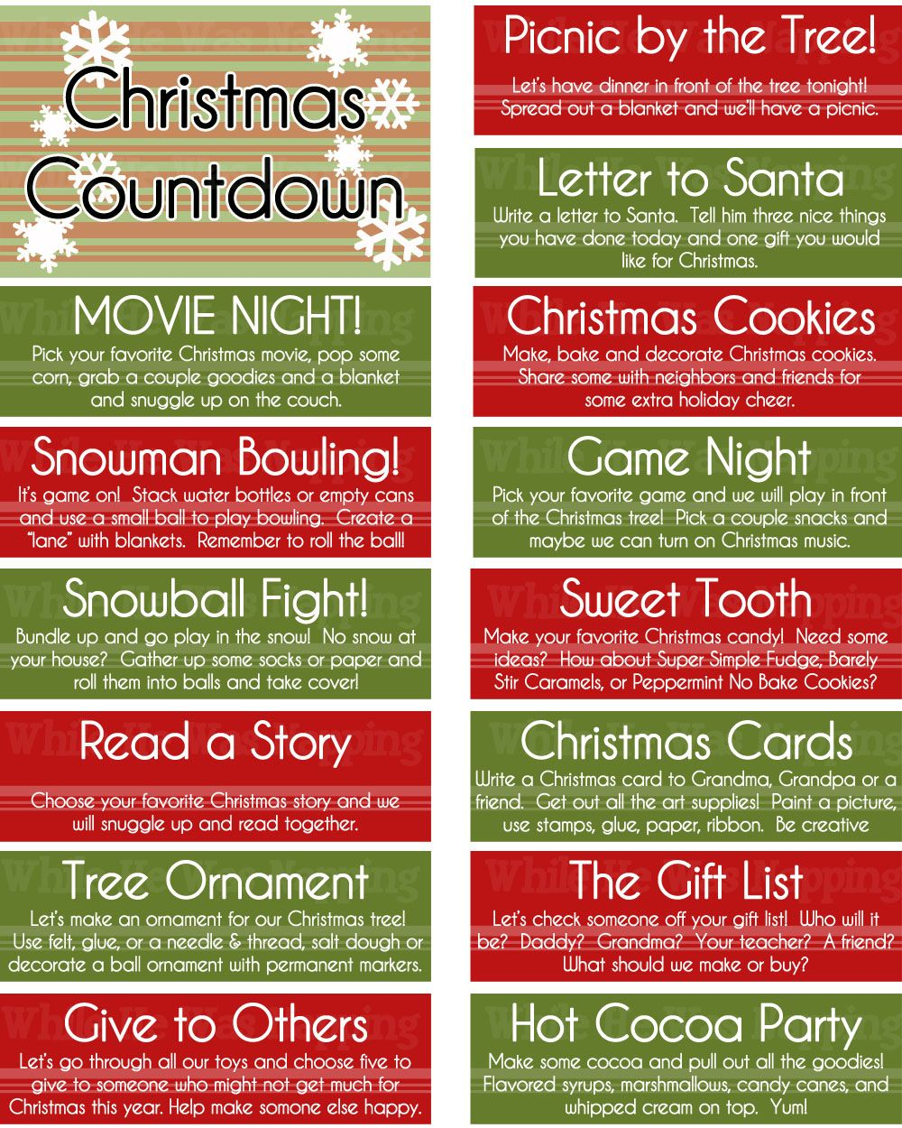 Printable Kid S Christmas Countdown Jar Christmas Countdown Christmas Activities Christmas Activities For Kids