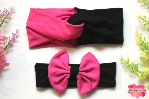 Black and Pink matching headbands