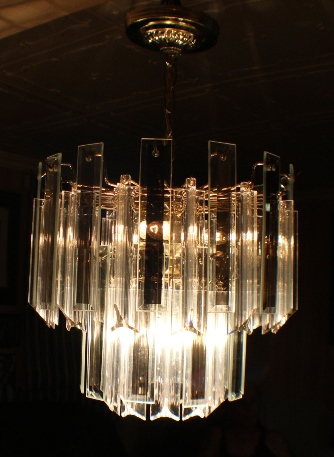 Stunning 48 Lucite And Smoked Beveled Glass 2 Tiered Chain Hanging Chandelier Brass Finish Hanging Chandelier Brass Chandelier Chandelier