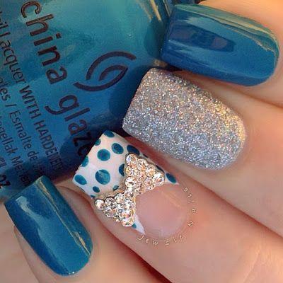 Curved Rhinestone Bow Nail Art Nailart Nails Httpwww