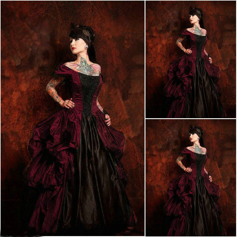 2017 Gothic Wedding Dresses Halloween Victorian Bridal: Victorian Corset Gothic/Civil War Southern Belle Ball Gown