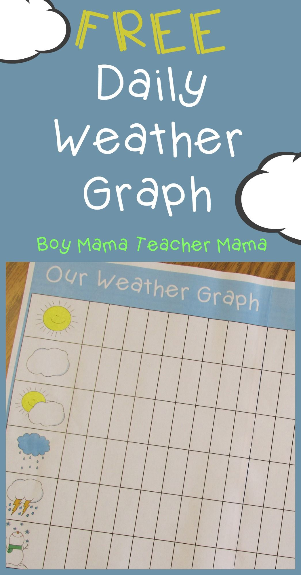 Teacher Mama FREE Printable Daily Weather Graph Weather