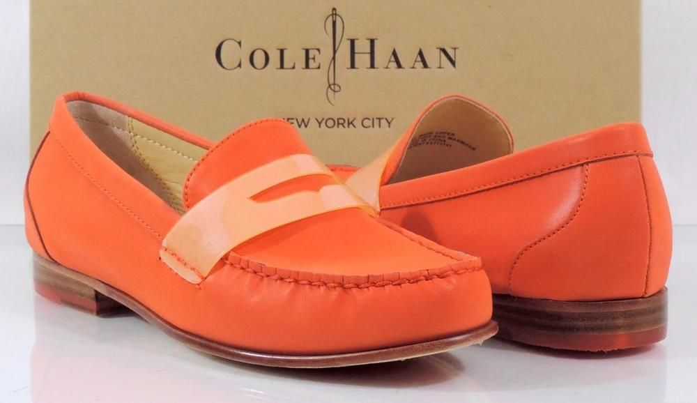 0f52c4805e4 Women s Cole Haan NY MONROE PENNY Slip On Loafer Moccasins Orange Pop Size  7.5  ColeHaan  LoafersMoccasins  Casual