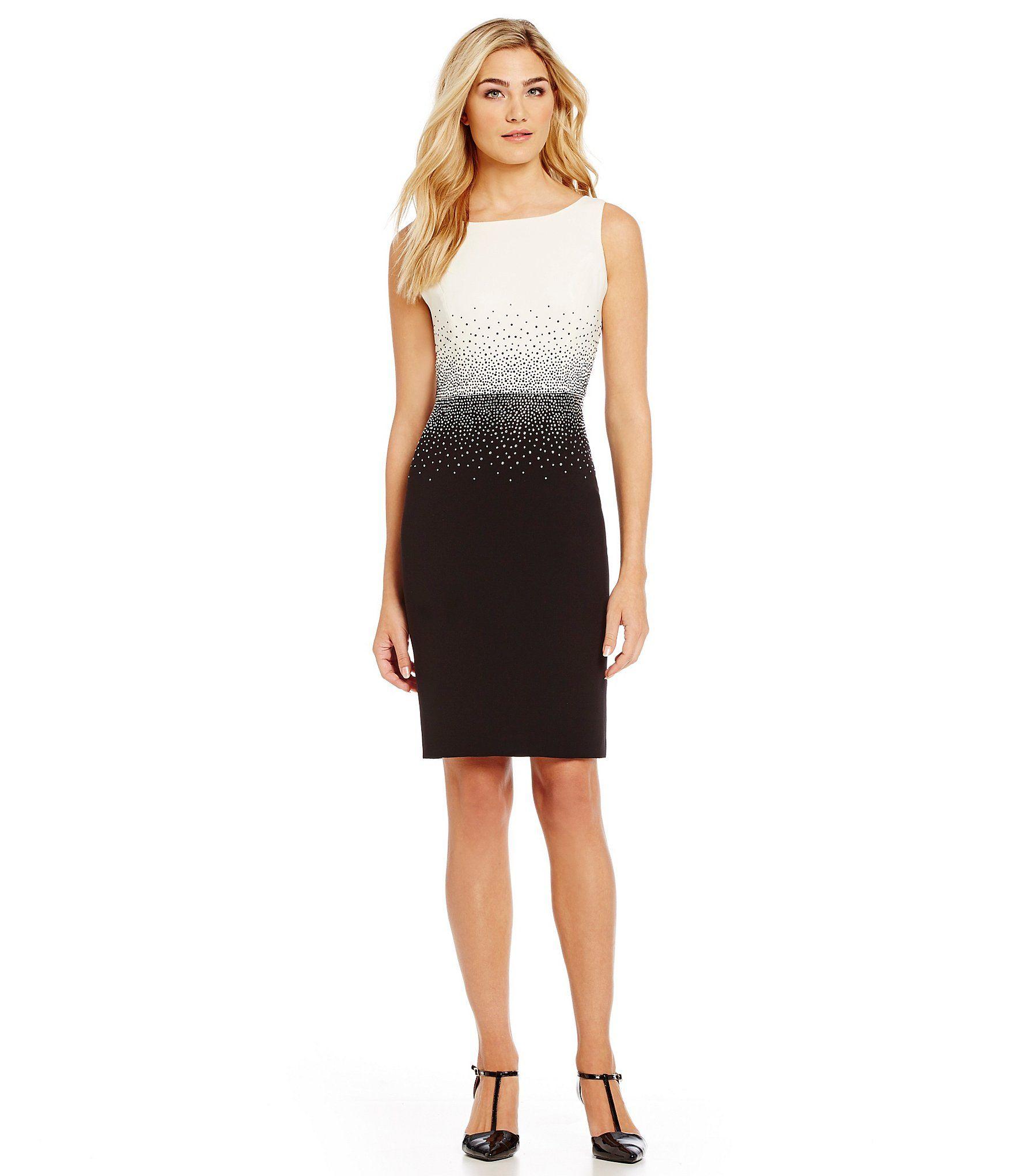 aaf1dd05df7 Calvin Klein Colorblock Sequin Sheath Dress