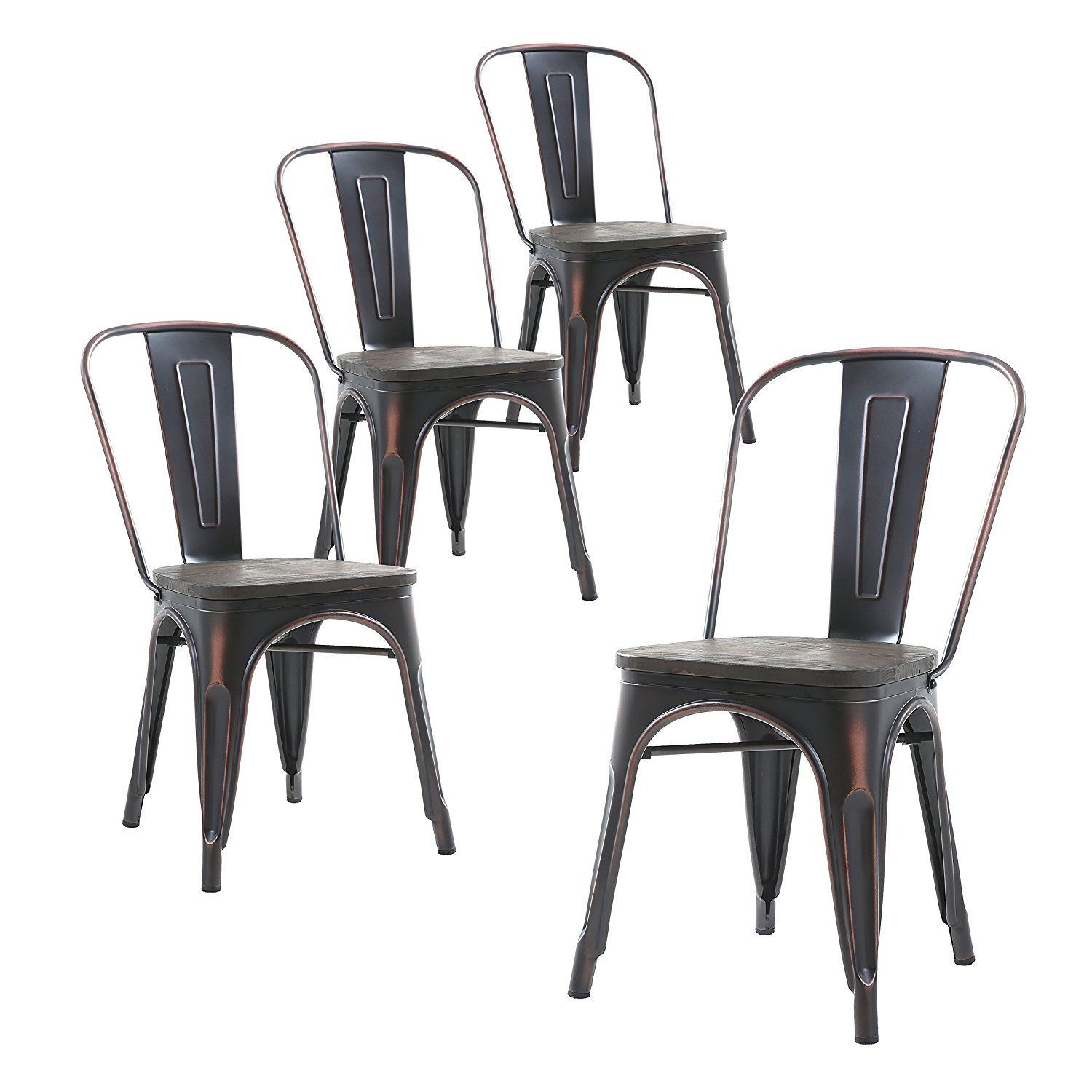 Amazon.com - Buschman Set of Four Distressed Black Wooden Seat Tolix-Style  Metal