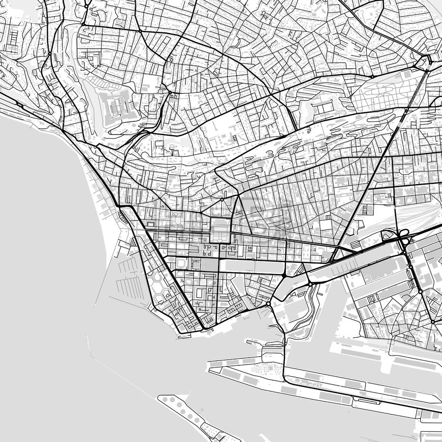 Downtown vector map of Le Havre