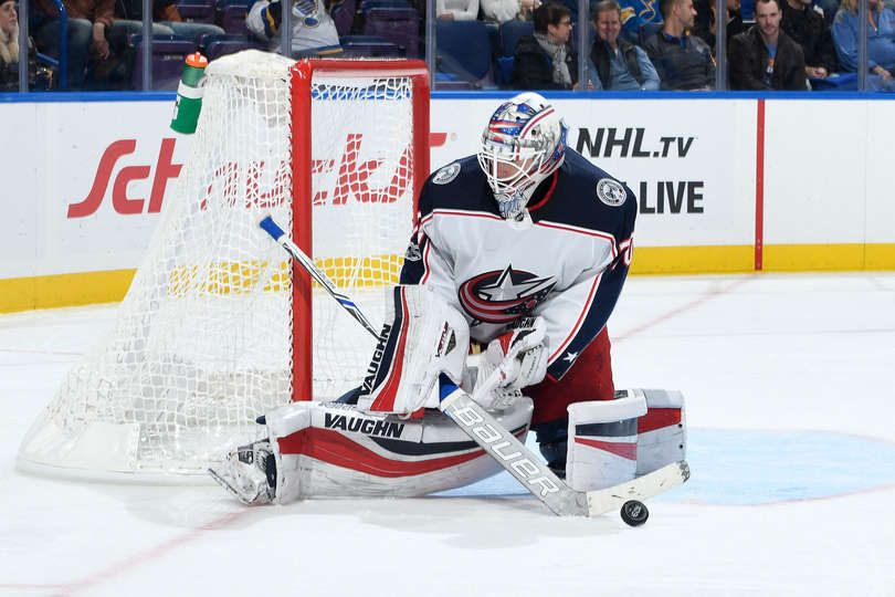 ST. LOUIS, MO - OCTOBER 28: Joonas Korpisalo #70 of the Columbus Blue Jackets makes a save against the St. Louis Blues at Scottrade Center on October 28, 2017 in St. Louis, Missouri. (Photo by Scott Rovak/NHLI via Getty Images)