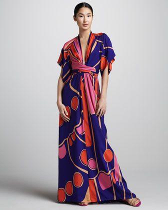 Deep V Silk Kimono Maxi Dress By Issa London At Neiman Marcus