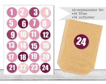 "www.papierbuedchen.de - DIY Adventskalender \"" Tüten & Aufkleber \"" (K31)"