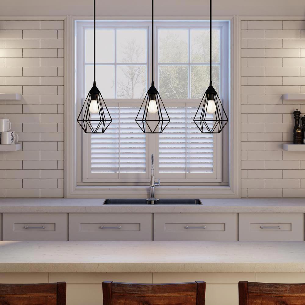 3light 94189a Black Depot Eglo Home Linear Matte Pendant Pendant Hanging Lights Kitchen Kitchen Island Lighting Pendant Black Pendant Light Kitchen