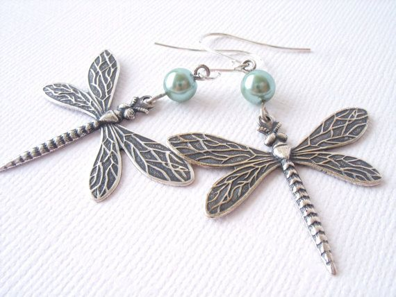 Dragonfly Earrings  Antiqued Sterling Silver  by eleven3jewelry, $22.00